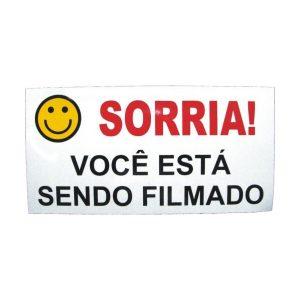 PLACA SORRIA VC ESTA SENDO FILMADO EM ALUMINIO - 10X15 CM - SO FRENTE