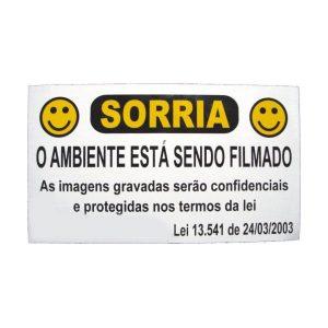 PLACA SORRIA VC ESTA SENDO FILMADO EM ALUMINIO C/LEI - 20X11,5 CM - SO FRENTE