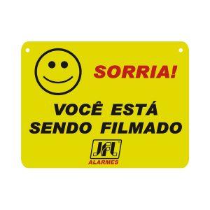 """PLACA ADVERTENCIA CFTV """" SORRIA VOCÊ ESTA SENDO FILMADO"""" - 22,0X16,6CM - PVC - FRENTE - JFL"""