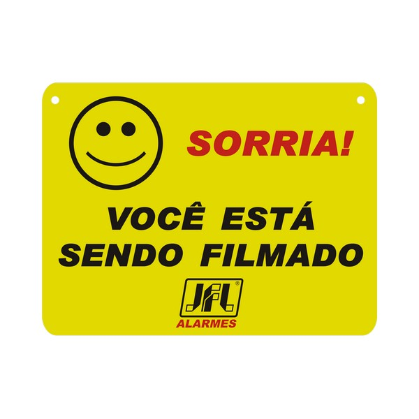 """PLACA ADVERTENCIA CFTV """" SORRIA VOCÊ ESTA SENDO FILMADO"""" – 22,0X16,6CM – PVC – FRENTE – JFL 1"""