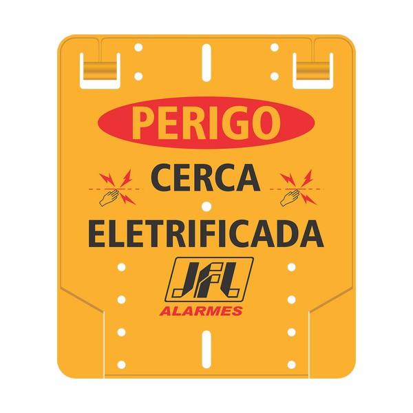 """PLACA ADVERTENCIA ELETREFICADOR """" PERIGO CERCA ELETRICA """" - 19,0X16,5CM - PVC - FRENTE - JFL"""