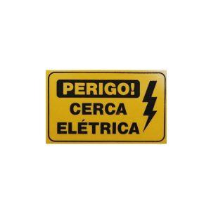 PLACA AVISO PERIGO CERCA ELETRICA EM PVC 18 X 11 X 1 GROSSA - CONFISEG