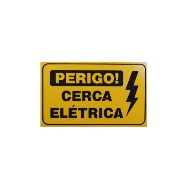PLACA AVISO PERIGO CERCA ELETRICA EM PVC 18 X 11 X 1 GROSSA – CONFISEG 1