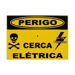PLACA AVISO PERIGO CERCA ELETRICA EM ALUMINIO - 17,5X13 CM -  FRENTE E VERSO
