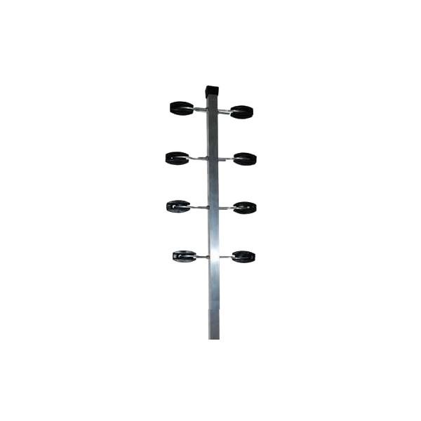 HASTE LISA TUBO QUADRADO 30X30 80 CM C/8 ISOLADORES CASTANHA E 8 GANCHOS C/PORCA – CONFISEG 1