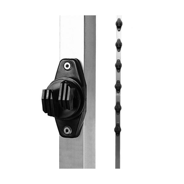HASTE LISA TUBO QUADRADO 25X25 1,00 MT C/6 ISOLADORES W – PARAFUSO – STEEL FOCCO 1