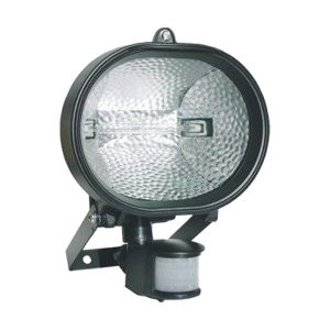 REFL. OVAL HALOGENO C/ SENSOR 150W BIV PRETO SEM LAMPADA DNI 6016
