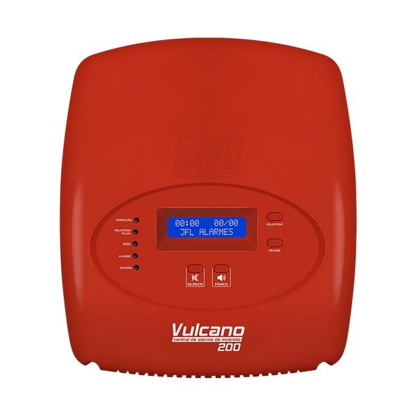 CENTRAL DE ALARME DE INCENDIO P/ ATÉ 199 DISPOSITIVOS C/VISOR LCD – 2 FIOS – VULCANO-200 – JFL 1